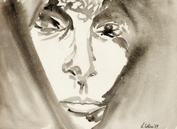 Donna araba, 30x40 cm., chine acquarellate, 1988