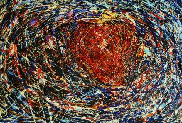Nel mio cuore, acrilici, vernici, mix colori, 50x70 cm., 2008