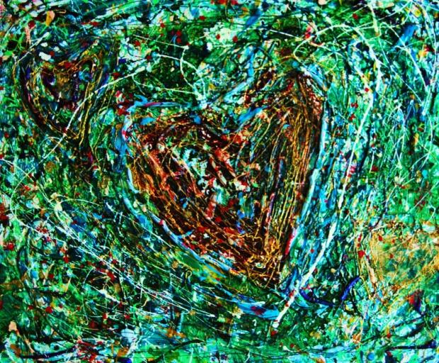 Cuore nel prato, tecniche miste, 40 x 60 cm., 2009
