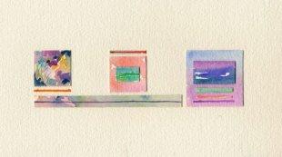 Vento di primavera, acquerelli e collage, 15x26 cm., 2001