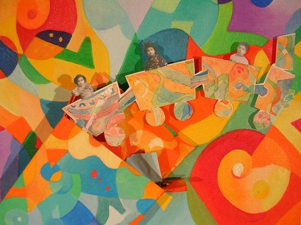 LC, Il trenino tunisino, olio e collage, 2004, dett.
