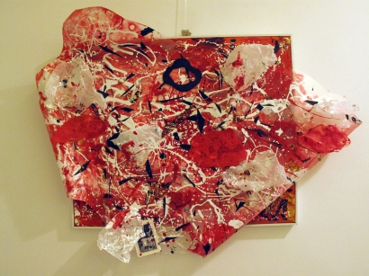 Nuvolette, scultura in plastica su tela, tecn. mista, 50x70 cm., tridimensionale, 2011