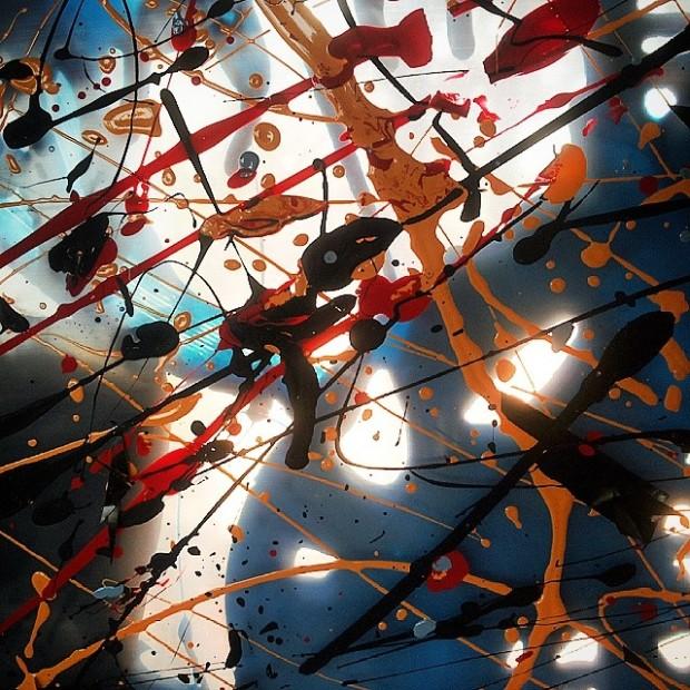 Sogni tra luci e ombre, collage e tecniche miste su doppi strati di plastica, 2012, dett.