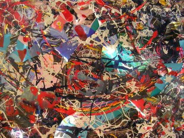 Dopo il temporale, collage e tecniche miste su plastica, 150x180, 2012, dettaglio