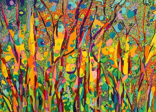 Di notte nel bosco tra foglie e lucciole abbracciate